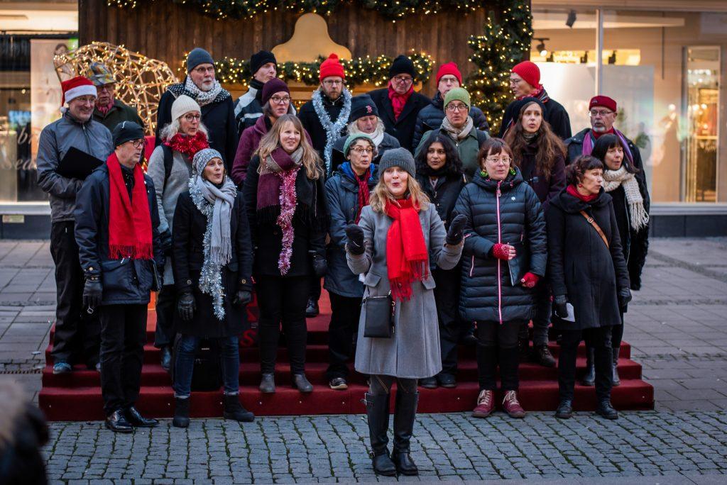 Kören Canorus med dirigent Katarina Reineck sjunger utomhus