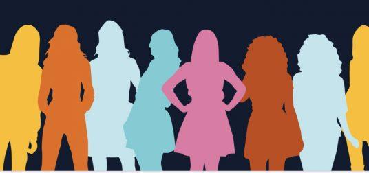 Åtta illustrerade kvinnor som står på rad